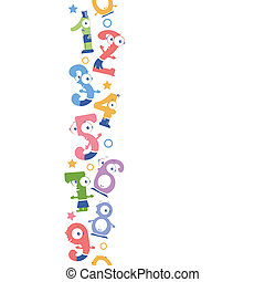 Fun numbers vertical seamless pattern background border