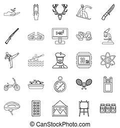 Fun on the water icons set, outline style