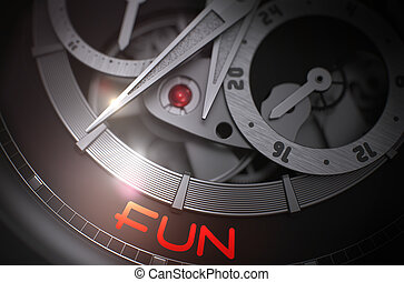 Fun on Vintage Wristwatch Mechanism. 3D.