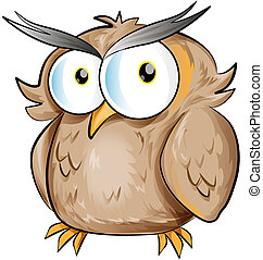 fun owl cartoon on white background