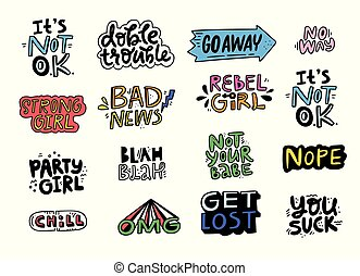 Fun Patch Collection - Set of lettering for patches and...