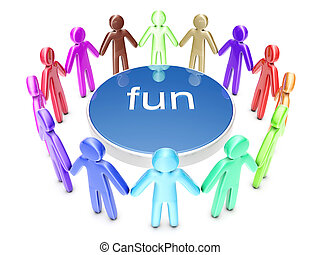 Fun People - A diverse group of party people. 3D rendered ...
