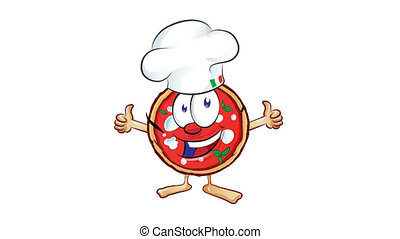 fun pizza cartoon with hat and thumb up