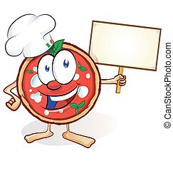 fun pizza cartoon with signboard