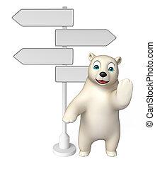 fun Polar bear cartoon character with way sign - 3d rendered...