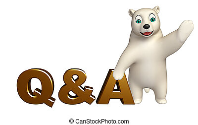 fun Polar bear cartoon character with Q%A sign