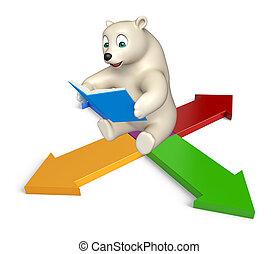 fun Polar bear cartoon character with books and arrow - 3d...