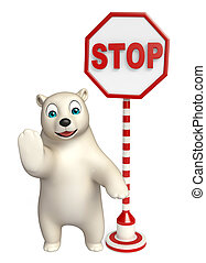 3d rendered illustration of Polar bear cartoon character with stop sign