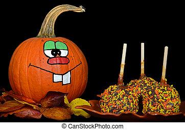 fun pumpkin with caramel apples