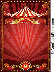 Fun red circus poster - A background with a large copy space...