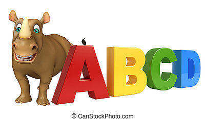 fun Rhino cartoon character with abcd sign