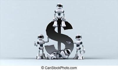 Fun robots next to a dollar