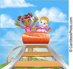 Fun Roller Coaster Kids - Cartoon girls riding on a roller...