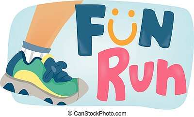 Fun Run for Kids Poster - Typography Illustration Featuring...
