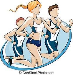 Fun Run Participation Design - Logo Illustration Featuring...