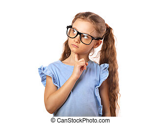 Fun serious girl in eye glasses thinking and looking up isolated on white background with empty copy spase.