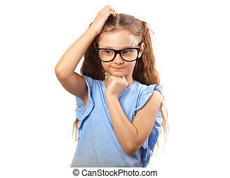 Fun serious kid girl in eye glasses thinking and scratch the head isolated on white with empty copy space background