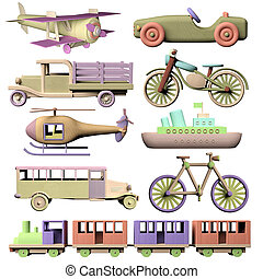 Fun set of 3d wooden transportation toys