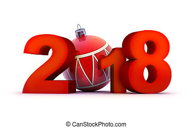 Fun sign new year red 2018