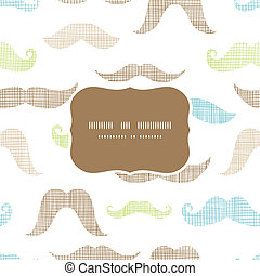 Fun silhouette mustaches frame seamless pattern background