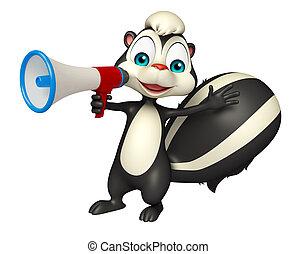 fun Skunk cartoon character with loud speaker - 3d rendered...