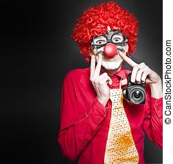Fun Smiling Clown Holding Camera Taking Happy Snap