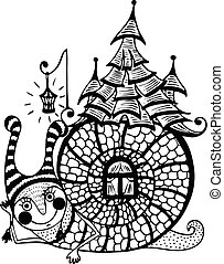 fun snail with a house on its back. vector