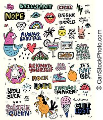 Fun Sticker Collection - Collection of illustrations in...