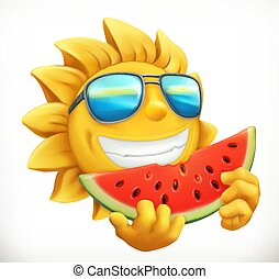 Fun summer sun with watermelon. 3d vector icon