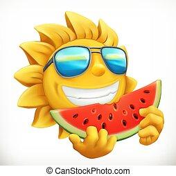 Fun summer sun with watermelon. 3d vector icon