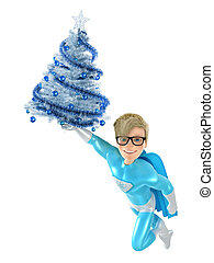 Fun superhero and Christmas tree - Brave superhero and...