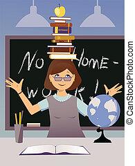 Fun teacher - Teacher in a classroom balancing a stack of...
