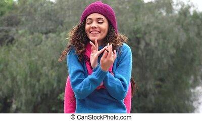 Fun Teen Girls Wearing Sweaters Cold Weather Photobomb