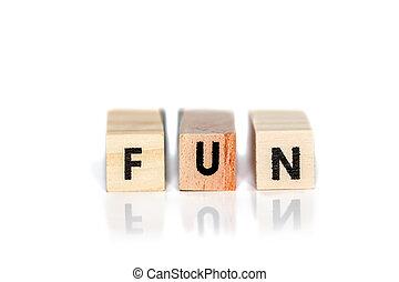 Fun text on three wood blocks