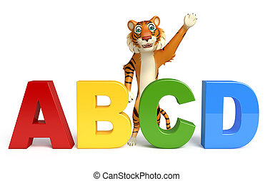 fun Tiger cartoon character with abcd sign