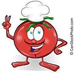 fun tomato chef cartoon