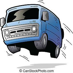 Fun Van - Fun Old Blue Van Bouncing On the Road