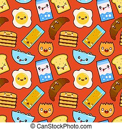 Fun vector seamless pattern Funny characters breakfast vector toasts bread, milk, fried egg cute food and drink in kawaii style with smiling face