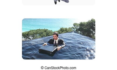 Fun videos of businessmen at beach