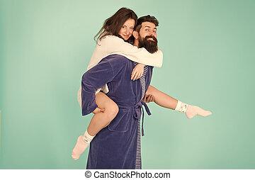fun., vie, femme, barbu, romantinc, couple., trip., love., amour, homme, lune miel, parfait, couple, profond, heureux, robe., avoir, famille, sentiment, ensemble., time., morning., gai