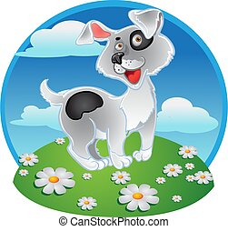 Fun white dog on a color background