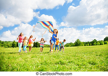 Fun with kite for many kids