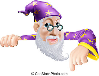 Fun Wizard Pointing Down - An illustration of a cute...