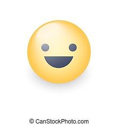 Fun yellow cartoon emoji face with smile and open eyes. Cute vector happy emoticon. Realistic smiley.