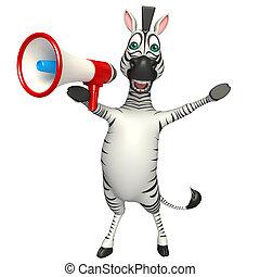 fun Zebra cartoon character with loud speaker - 3d rendered...