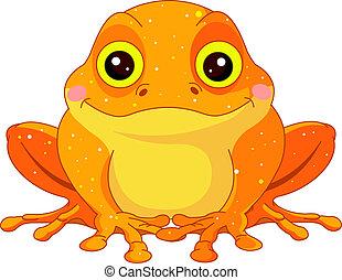 Fun zoo. Golden Toad - Fun zoo. Illustration of cute Golden...