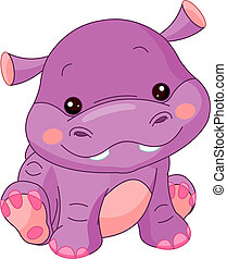 Fun zoo. Hippo - Fun zoo. Illustration of cute Hippo