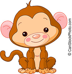 Fun zoo. Monkey - Fun zoo. Illustration of cute Monkey