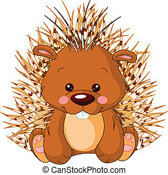 Fun zoo. Porcupine - Fun zoo. Illustration of cute Porcupine...