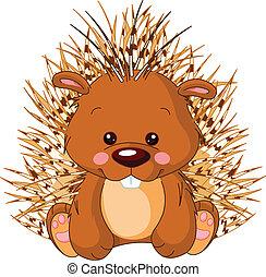 Fun zoo. Porcupine - Fun zoo. Illustration of cute Porcupine